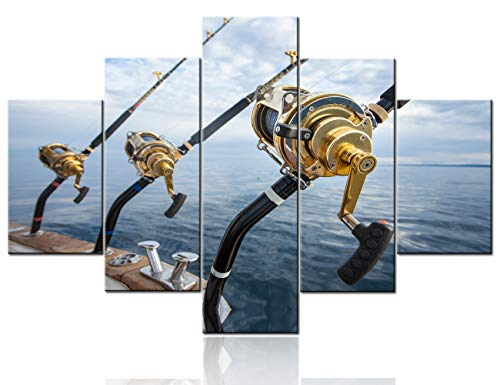5 Pieces Wall Art Fishing Reel and Rod Pictures Blue Seascape Paintings Printed on Canvas Contemporary Artwork Living Room Modern House Decorations Gallery-Wrapped Framed Ready to Hang(60''Wx40''H)
