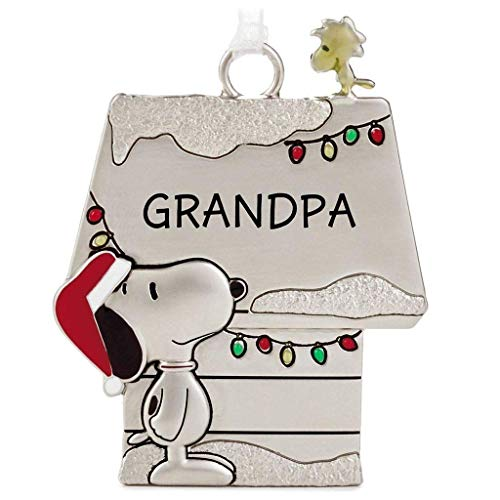 Hallmark Peanuts Snoopy and Woodstock Charmers Grandpa Metal Christmas Ornament