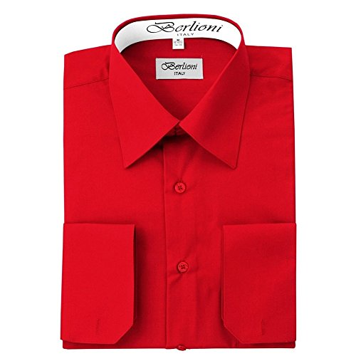 (Berlioni Italy Men's Convertible Cuff Solid Dress Shirt Red-M (15-15½) Sleeve 32/33)