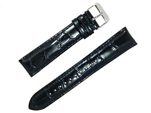 (time+ 20mm 2 Piece Crocodile Pattern Leather Watch Strap Black)