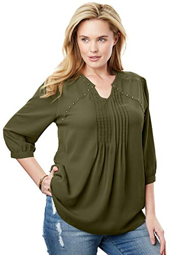 - Woman Within Women's Plus Size Studded Pintucked Blouse - Dark Basil, 14/16