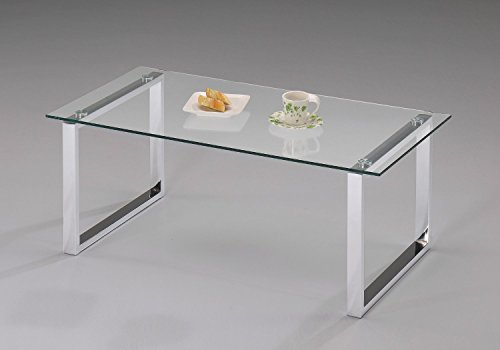 modern design chrome finish with glass top cocktail coffee table