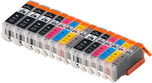 Blake Printing Supply 14 Pack Ink Cartridges for 270, 271, Pixma MG7720. 4 Big Black, 2 Small Black, 2 Cyan, 2 Gray, 2 Magenta, 2 Yellow