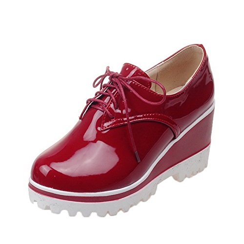 Odomolor Women's Solid Patent Leather High-Heels Round-Toe Lace-up Pumps-Shoes, Red, 38