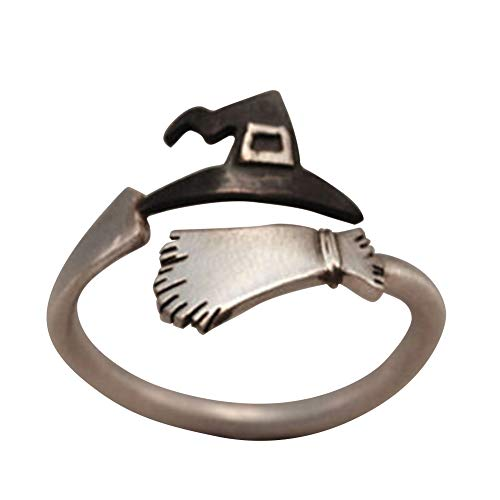Slendima Halloween Witch Cap Broom Adjustable Open Finger Ring Creative Women Festival Jewelry Gift Silver ()