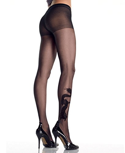 Leg Avenue 9910 Women's Dragon Tattoo Sheer Tights Pantyhose - One Size - Black