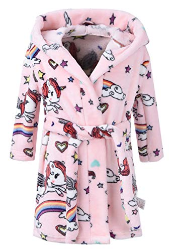 Girls' Fleece Robe, Warm Plush Flannel Bathrobe Hooded Pajamas Sleepwear Cosplay Costume Bath Robe for Toddler & Little Girls