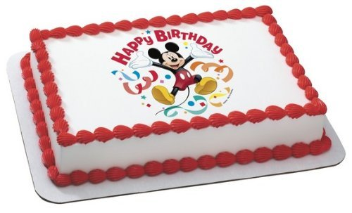 Whimsical Practicality Mickey Mouse Clubhouse Streamers Edible Cake Topper Decoration Sheet Measures 8.5x10.5 Inchs Mixed]()