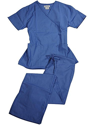 Natural Uniforms - Women's Mock Wrap/Flare Pant Medical Scrubs Set (Ceil Blue, Small)