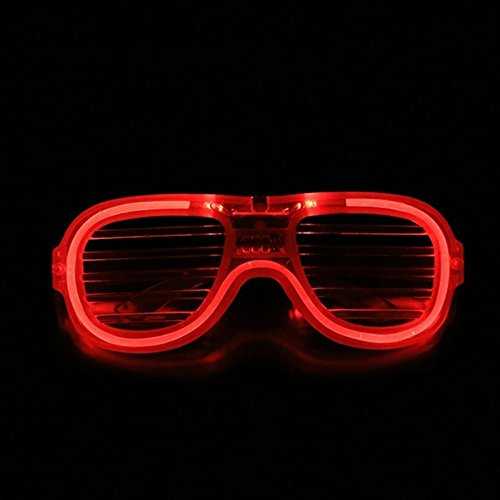 Costumes For People With Glasses (Light Up Costumes Eyeglasses LED Neon Shutter Glasses for Party Red)