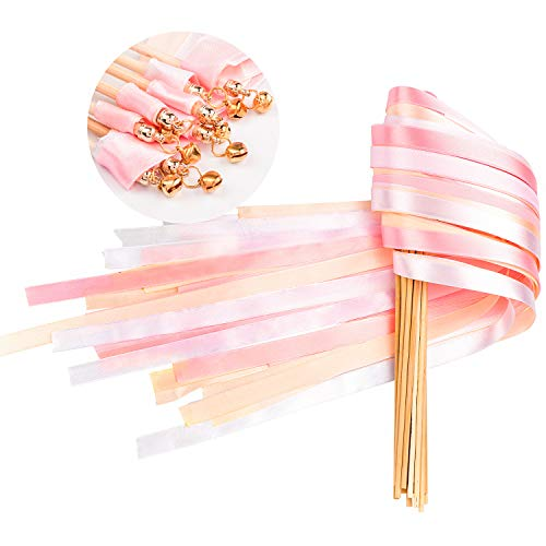 Whaline 30 Pack Ribbon Wands Chromatic Silk Ribbon with Bells Fairy Stick Wish Wands for Wedding and Valentines Party (Pink) -