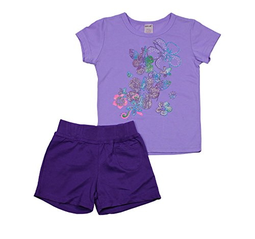 S.W.A.K Kids Little Girls 2 Piece Cotton Blend Printed Crew neck Shirt and French Terry Shorts Set Lavender (Guy Outfit Ideas)