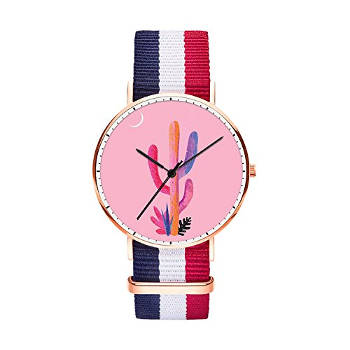 SunbirdsEast Pink Cactus Watch Nylon Band for Men 40mm Analog Quartz Wrist Rose Gold Unisex Stainless Steel Children Nylon Multi-Color Striped Band Watch -