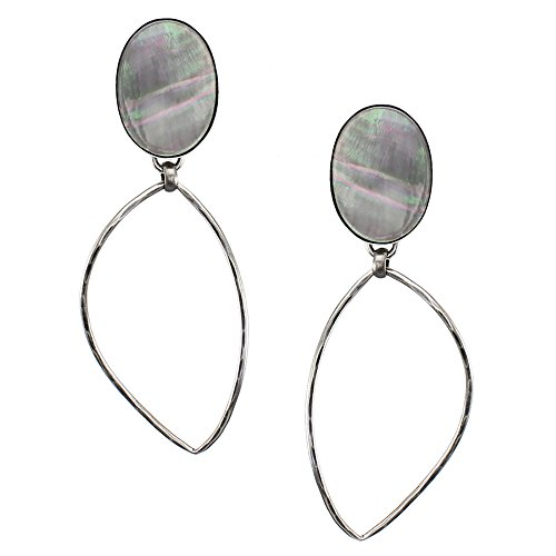 Marjorie Baer Black Pearl Oval Disc with Leaf Ring Clip on Earring in Antique Silver ()