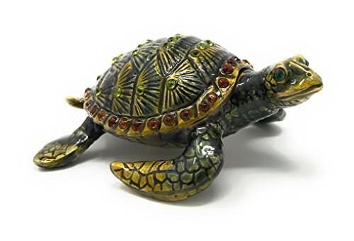 Kubla Crafts Enameled Baby Sea Turtle Trinket Box, Accented with Austrian Crystals ()