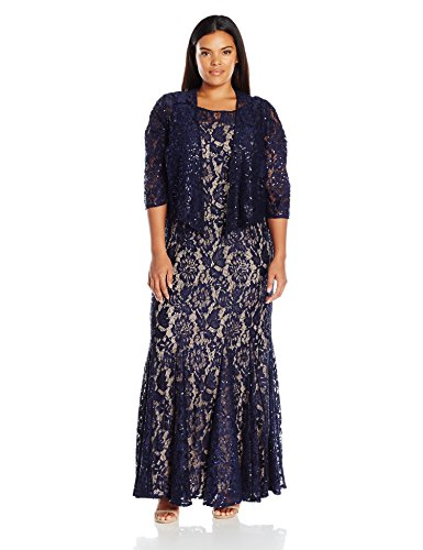 [Alex Evenings Women's Plus Size 2 Pc Lace Jacket Evening Dress, Navy Nude, 16W] (Plus Size Evening Wear)