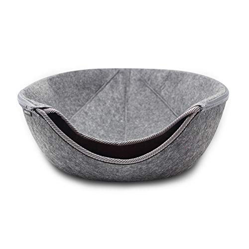 VistosoHome Felt Cat Cave Bed with Detachable & Collapsible Zipper Top - Large Interior & Entrance Works for Cats & Small Dogs - Handcrafted Modern Design & Felt (Dark Grey/Burgundy)