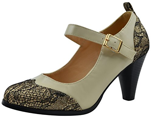 Dora Gold - Chase & Chloe Dora-2 Women's Round Toe Two Tone Mary Jane Pumps,11 B(M) US,Gold Glitter/Cream
