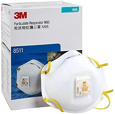 COMMAND XM00014white 3M Particulate Respirators 8511. N95 Sanding Respirator with Breathing Valve to Defense Virus, Half Face, White, 10 Piece