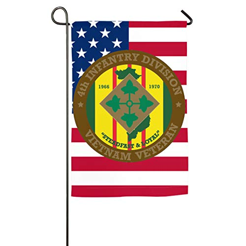 4th Infantry Division Vietnam Veteran Yard Flag Patio Garden Flags Outdoor Banner 12x18 Inches ()