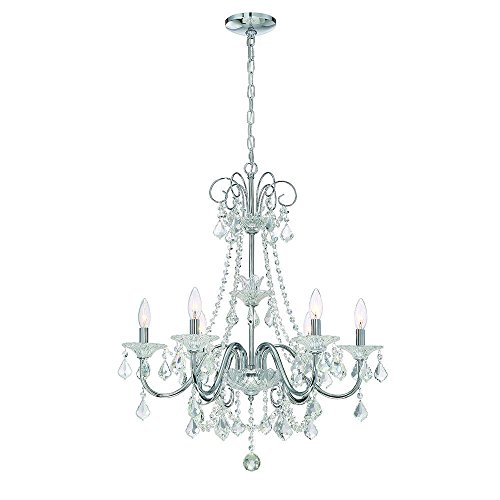 Canterbury Ceiling Light - Canterbury Park Collection 6-Light Chrome Crystal Chandelier