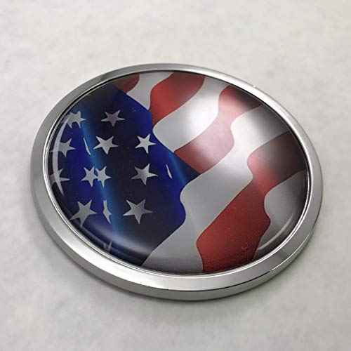 BestLicensePlateFrames US American Flag Tattered 3D Domed CAR Emblem Badge Sticker Chrome Metal Round Bezel