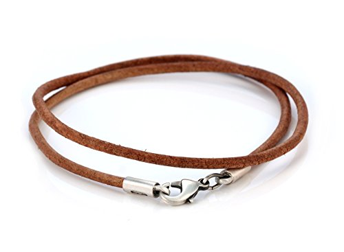 Bico 3mm (0.12 inch) Brown Leather Necklace 22 inch Long (CL7 Brown - Designer Necklace Leather