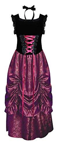 Victorian Renaissance Brocade Velvet Steampunk Gothic Women's Corset Top & Skirt (Burgundy/Black, (Exquisite Fit Lace Up Corset)