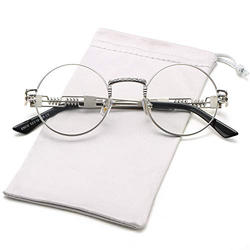 (HUA JU Vintage John Lennon Style Metal Spring Frame Round Steampunk glasses with Clear Lens (Silver Frame/Clear Lens, 51))