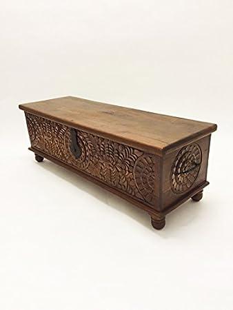 Orientalische Truhe Kiste aus Holz Ghotam 120cm groß | Vintage Sitzbank mit  Aufbewahrung für den Flur | Aufbewahrungsbox mit Deckel im Bad | Betttruhe  ...