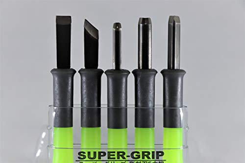 Super Grip Carving tool 5 set kit for wood rubber pumpkin woodworking Japan imported (Green)