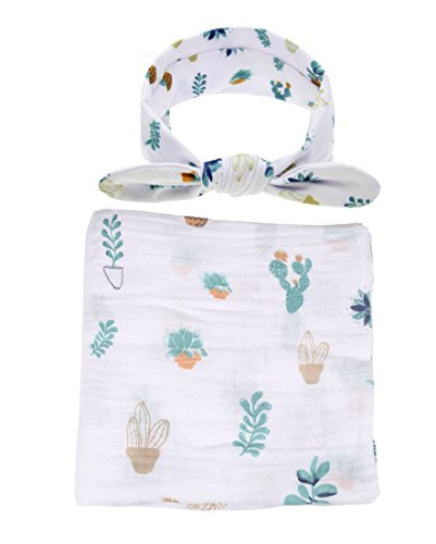 Baby Cotton Swaddling & Receiving Blanket and Hair Bow Headband Set (Cactus Print)