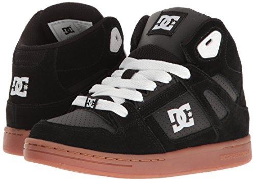 DC Rebound Sneaker (Little Kid/Big Kid), Black/Gum, 5 M US Big Kid