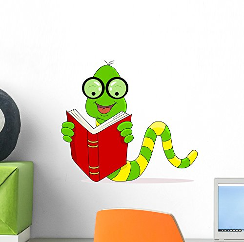 - Wallmonkeys Happy Worm Reading Book Wall Decal Peel and Stick Graphic (12 in W x 11 in H) WM333850