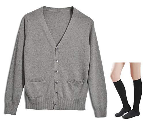 Long Sleeve deep V-Neck Knitted Button up Cardigan Sweater Anime Japanese School Girl Uniform with Socks Set(Light Grey - Button Deep
