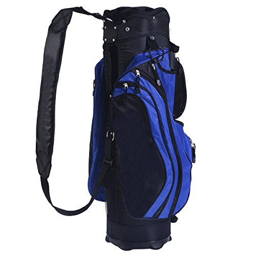 Tangkula 2016 Golf Carry Bag 14 Way Divider Lightweight w/Carry Belt Blk&Blue by TANGKULA (Image #1)