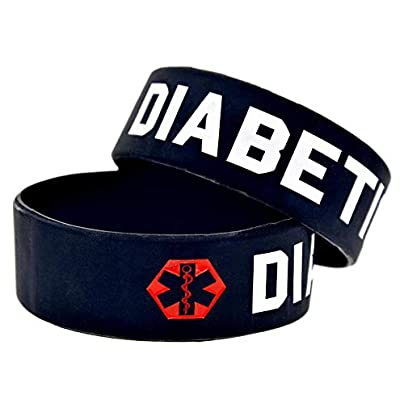 Relddd Silicone Bracelet Diabetic Warning Words 1-inch wrist band lettering fill Creative gift set pieces Estimated Price £23.99 -