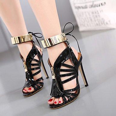 LvYuan Mujer-Tacón Stiletto-Otro-Sandalias-Vestido Informal Fiesta y Noche-Cuero Patentado-Negro Plata Silver