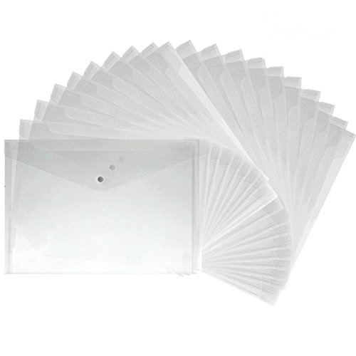 30 Pack Premium Translucent Plastic Envelopes with Snap Button Clear  Document Folder for A4 Size Water Resistant File Holder (30)