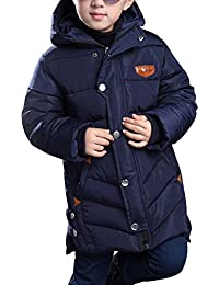 Big Boys' Winter Cotton Thick Quilted Hooded Parka Outwear Coat