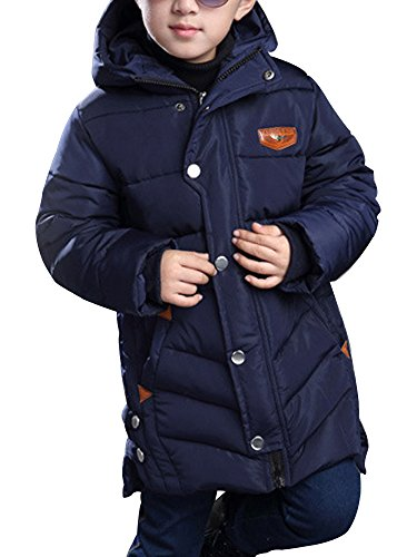 OCHENTA Boys' Winter Cotton Quilted Outerwear, Hooded Parka Coat Navy Blue Tag 160-59