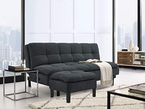 Serta MCE-2PC-SG-SET Madison Upholstered Convertible Sofa and Ottoman Set, (79