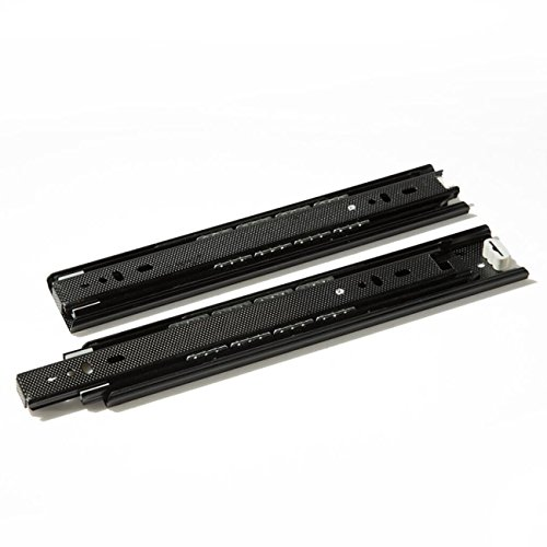 Btibpse Drawer Slide 10 Inch Ball Bearing Full Extension Slide Rail Black Pair Telescopic Rail