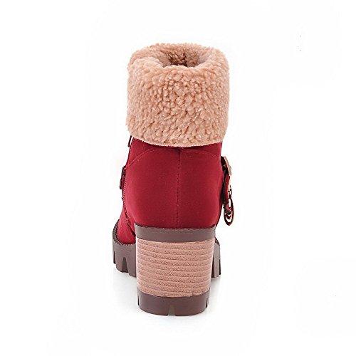 Allhqfashion Para Mujer De Tacones Altos Sólidos Cerrados Cerrados Con Cremallera Escarchada Botas De Color Rojo