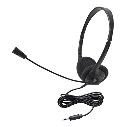 Califone 3065AVT Lightweight Personal Multimedia Stereo Headset with To Go Plug, Black, Fully Adjustable Headband Fits All Students, Recessed Wiring Resists Prying Fingers ()