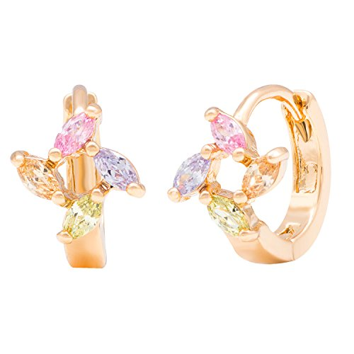 Romantic Time Vibrant 18k Rose Gold Plated Sapphire and Diamond Flower Hoop Earrings