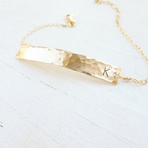 Gold Filled Hammered Bar Bracelet
