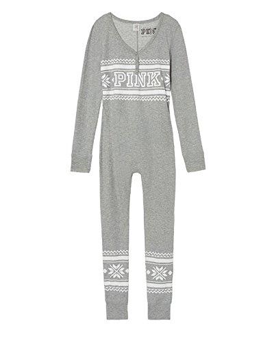 Victoria's Secret PINK Onesie Pajamas Christmas Heather Gray Medium
