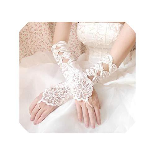 White Ivory Fingerless Wedding Gloves Cheap Sheer Lace Beaded Bridal Gloves,Beige