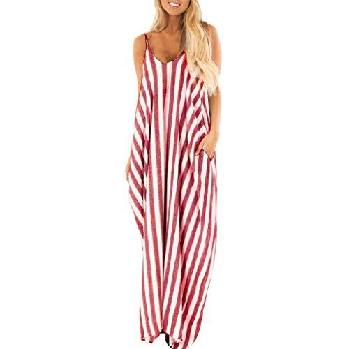 Sttech1 Women's Fashion Striped Dress Sleeveless Long Boho Dress Beach Maxi Dress Sundress Red ()